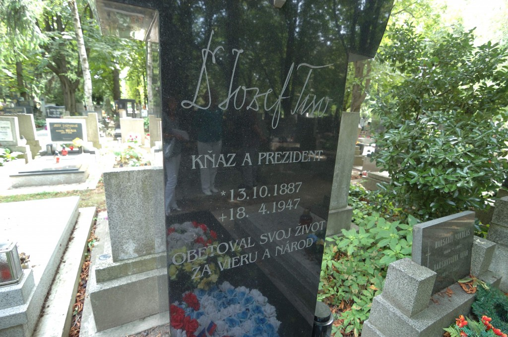 The grave of Jozef Tiso in Bratislava. Despite the fact that Tiso was the Führer/dictator of Slovakia during the WWII, the grave stone still speaks about a man who sacrificed his life to Catholic faith and Slovak nation.