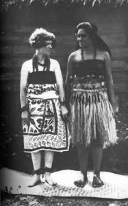 "Photo from Blackberry Winter: My Earlier Years with the caption ""In Vaitogi: in Samoan dress, with Fa'amotu."""