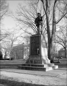 """Silent Sam"" Confederate soldier monument. (Photo by Timothy J. McMillan.)"